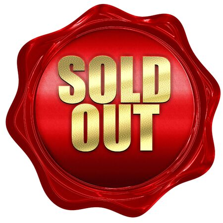 wax sell: sold out, 3D rendering, a red wax seal Stock Photo