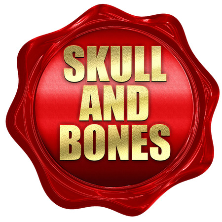 secret society: skull and bones, 3D rendering, a red wax seal Stock Photo
