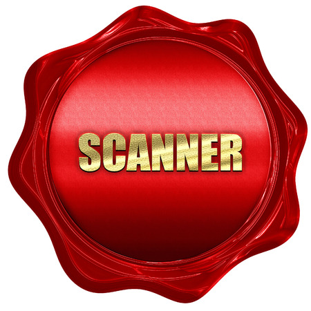 wax sell: scanner, 3D rendering, a red wax seal Stock Photo