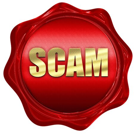 scamming: scam, 3D rendering, a red wax seal