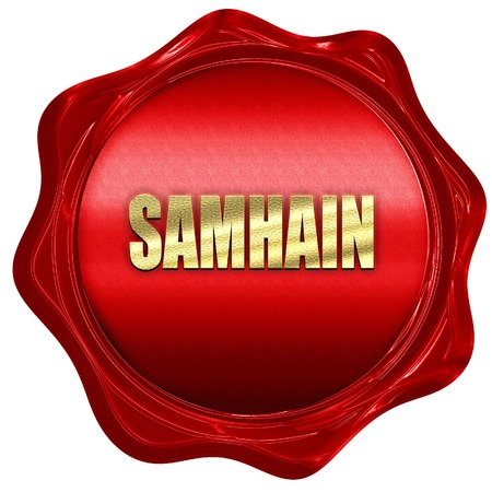 glowing carved: Traditional glowing Samhain Jack-o-Lantern with carved word Samhain on it. Pagan Wiccan Wheel of the Year holiday celebration., 3D rendering, a red wax seal