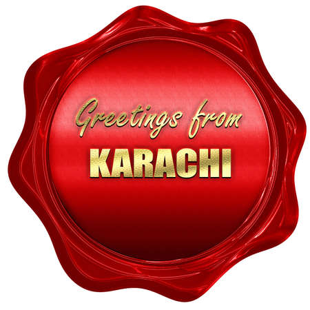 karachi: Greetings from karachi with some smooth lines, 3D rendering, a red wax seal