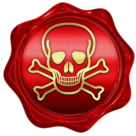 poison sign: Poison sign background with some soft scratches and dents, 3D rendering, a red wax seal