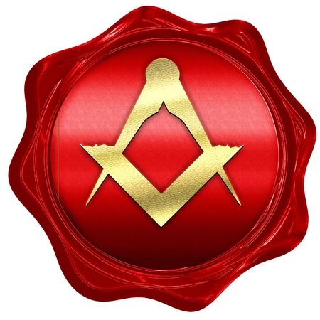 3d temple: Masonic freemasonry symbol with some soft smooth lines, 3D rendering, a red wax seal