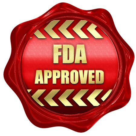 fda: FDA approved background with some smooth lines, 3D rendering, a red wax seal
