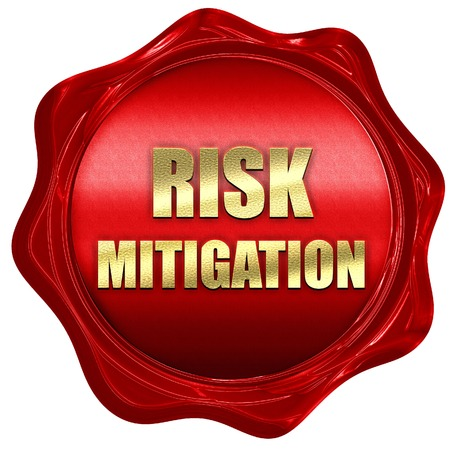 mitigation: Risk mitigation sign with some smooth lines and highlights, 3D rendering, a red wax seal