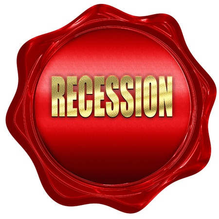 recession: recession, 3D rendering, a red wax seal Stock Photo