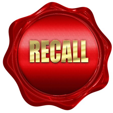 recall: recall, 3D rendering, a red wax seal Stock Photo