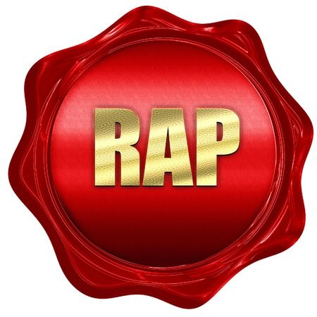 rap music: rap music, 3D rendering, a red wax seal Stock Photo