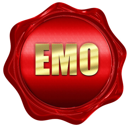 emo: emo, 3D rendering, a red wax seal