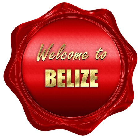 tourism in belize: Welcome to belize card with some soft highlights, 3D rendering, a red wax seal