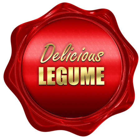 legume: Delicious legume sign with some soft smooth lines, 3D rendering, a red wax seal