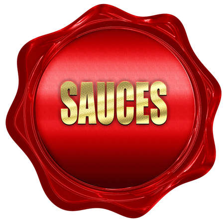 sauces: Delicious sauces sign with some soft smooth lines, 3D rendering, a red wax seal Stock Photo