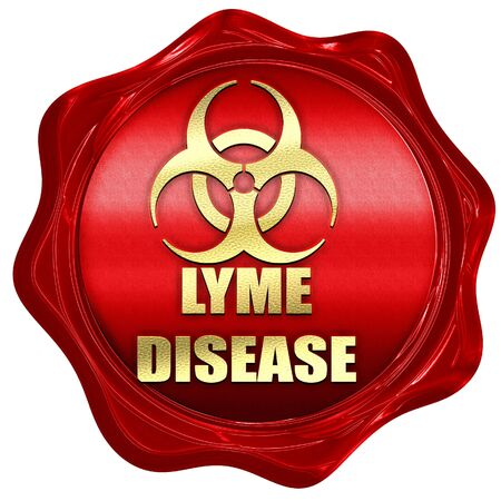 lyme: Lyme virus concept background with some soft smooth lines, 3D rendering, a red wax seal