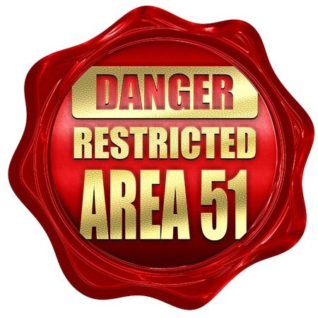 51: area 51 sign with some soft flowing lines, 3D rendering, a red wax seal