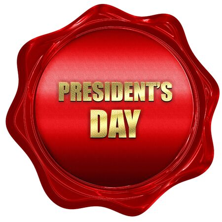presidents day, 3D rendering, a red wax seal