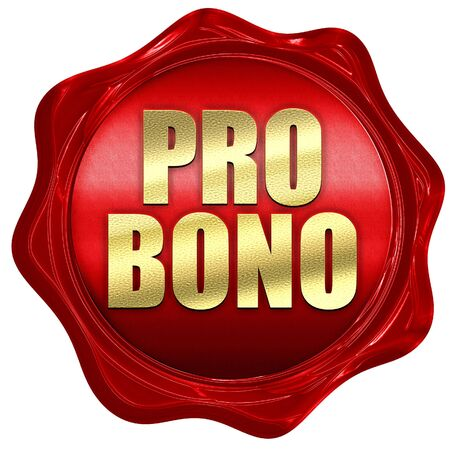 trouble free: pro bono, 3D rendering, a red wax seal