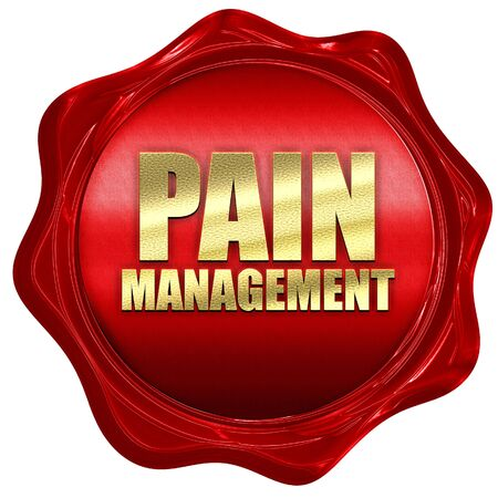 pain management: pain management, 3D rendering, a red wax seal