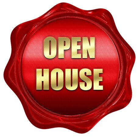 wax sell: Open house sign with some soft smooth lines, 3D rendering, a red wax seal