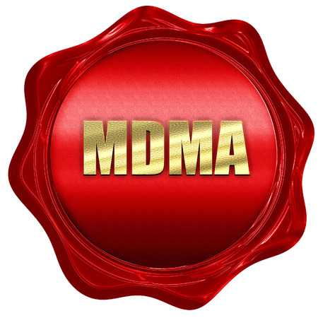 mdma: mdma, 3D rendering, a red wax seal