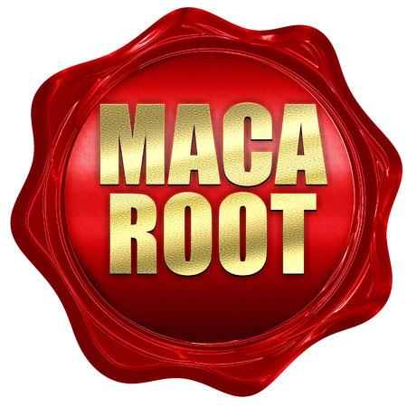maca: maca root, 3D rendering, a red wax seal