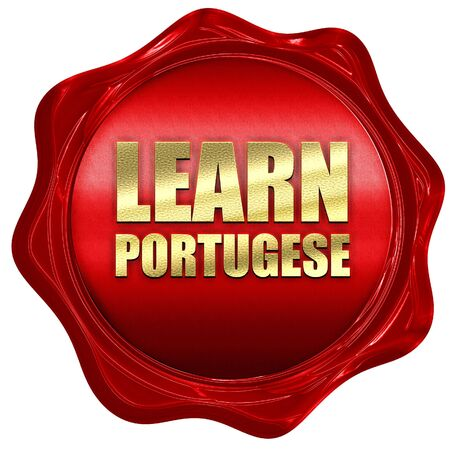 portugese: learn portugese, 3D rendering, a red wax seal