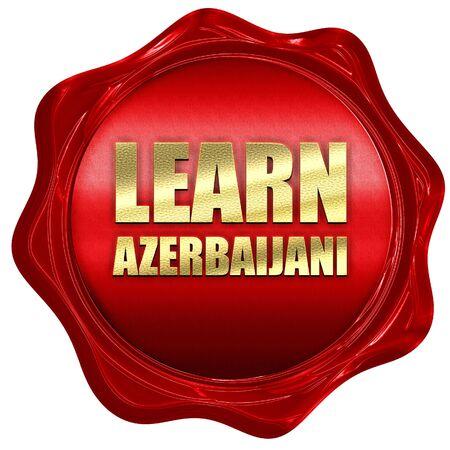 azerbaijani: learn azerbaijani, 3D rendering, a red wax seal