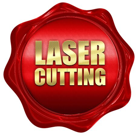 lasercutting: laser cutting, 3D rendering, a red wax seal Stock Photo