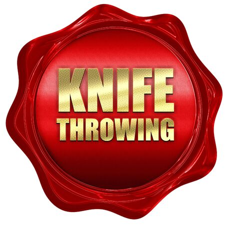 throwing knife: knife throwing, 3D rendering, a red wax seal