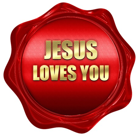 gift of hope: jesus loves you, 3D rendering, a red wax seal