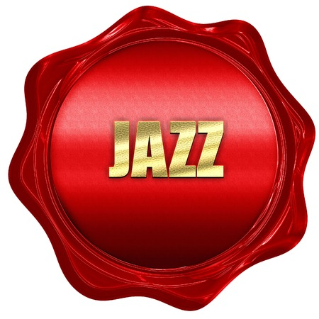 music 3d: jazz music, 3D rendering, a red wax seal
