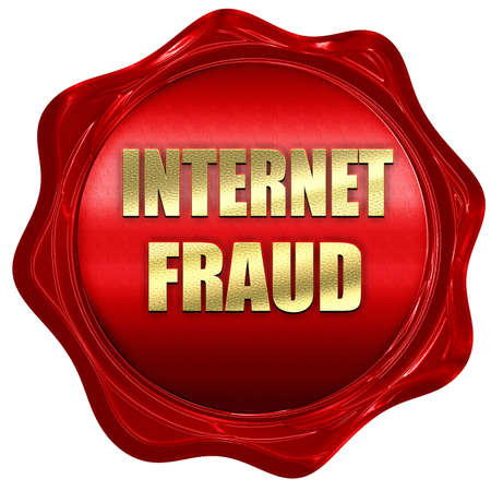 internet fraud: Internet fraud background with some smooth lines, 3D rendering, a red wax seal