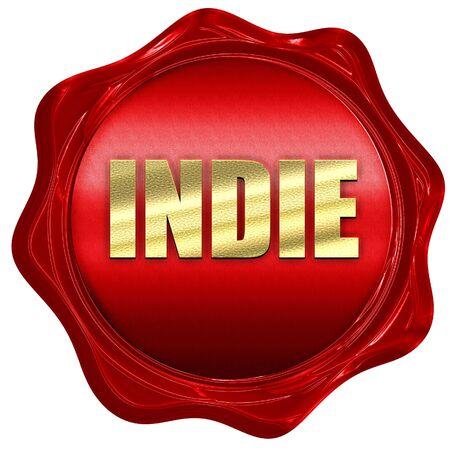 indie: indie, 3D rendering, a red wax seal Stock Photo