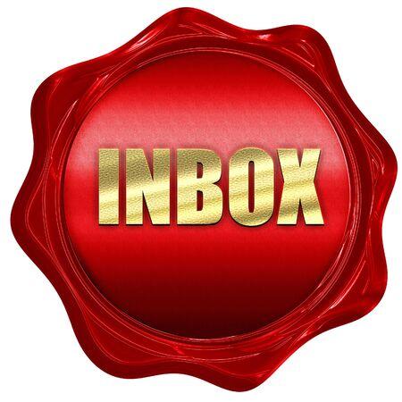 inbox: inbox, 3D rendering, a red wax seal