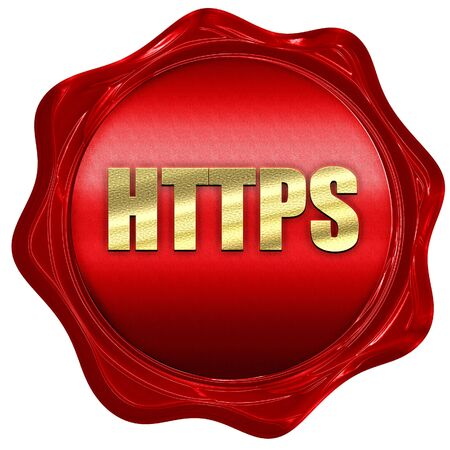 https: https, 3D rendering, a red wax seal