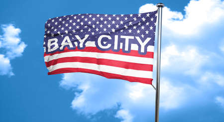 bay city: bay city, 3D rendering, city flag with stars and stripes