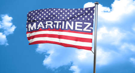 martinez: martinez, 3D rendering, city flag with stars and stripes Stock Photo