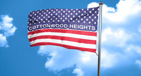 heights: cottonwood heights, 3D rendering, city flag with stars and stripes