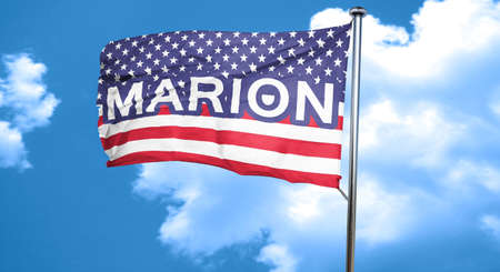 marion: marion, 3D rendering, city flag with stars and stripes Stock Photo