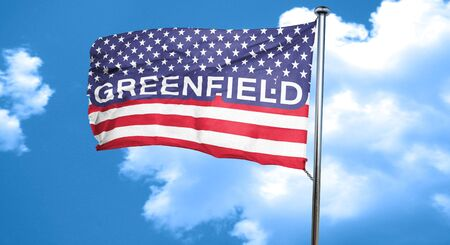 greenfield: greenfield, 3D rendering, city flag with stars and stripes Stock Photo