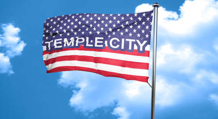 3d temple: temple city, 3D rendering, city flag with stars and stripes