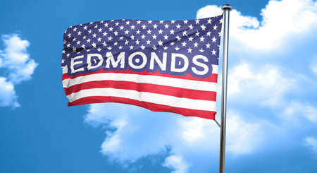 edmonds: edmonds, 3D rendering, city flag with stars and stripes