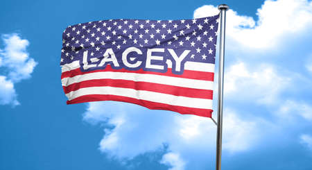 lacey: lacey, 3D rendering, city flag with stars and stripes