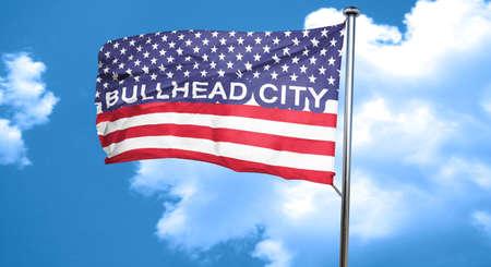 bullhead: bullhead city, 3D rendering, city flag with stars and stripes