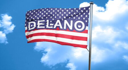 delano, 3D rendering, city flag with stars and stripes Stock Photo