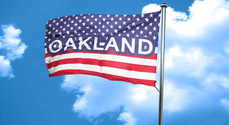 oakland: oakland, 3D rendering, city flag with stars and stripes Stock Photo