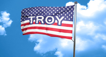 troy: troy, 3D rendering, city flag with stars and stripes Stock Photo