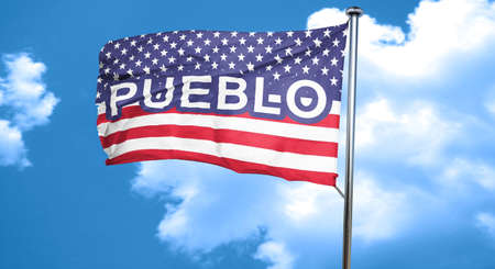 pueblo: pueblo, 3D rendering, city flag with stars and stripes Stock Photo
