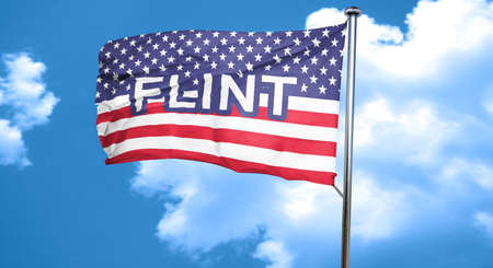 flint: flint, 3D rendering, city flag with stars and stripes