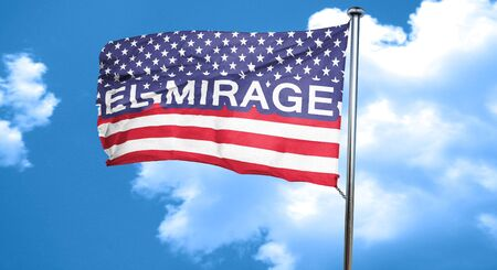 a mirage: el mirage, 3D rendering, city flag with stars and stripes Stock Photo